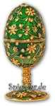 Schmuck- Ei Grün mit Spieluhr nach Faberge-Art aus emailiertem Metall