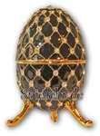 Schmuck- Ei Schwarz mit Spieluhr nach Faberge-Art aus emailiertem Metall