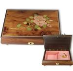 Schmuckschatulle mit Holzeinlegearbeit Rosen-Motiv und wählbarer Spieluhren Melodie