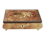 Schmuckschatulle mit Rosen-Motiv Intarsie und 30-Ton Spieluhren Melodie