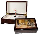 Bildlackschatulle mit drehender Ballerina Foyer de la Danse von Degas, mit Spieluhr